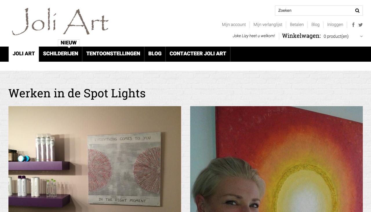 """Joli Art webshop gemaakt door """" ik wil een site """""""