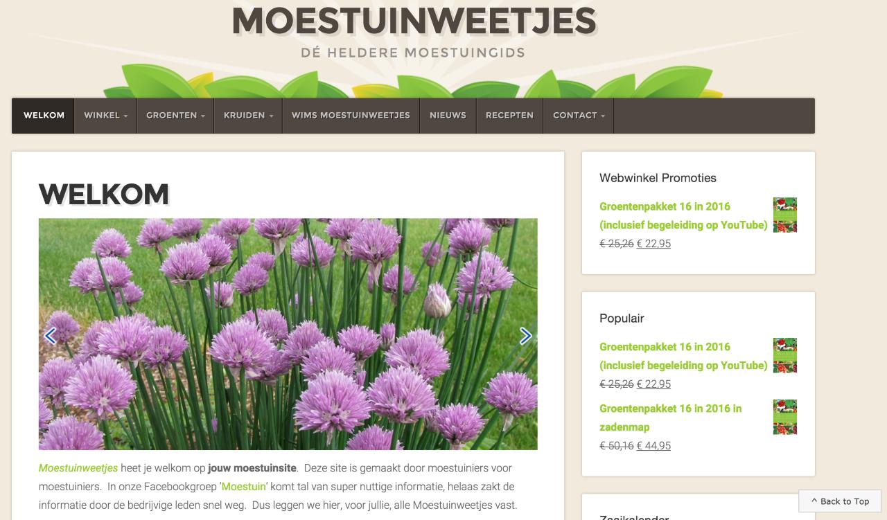 """Moestuinweetjes webshop gemaakt door """" ik wil een website """""""