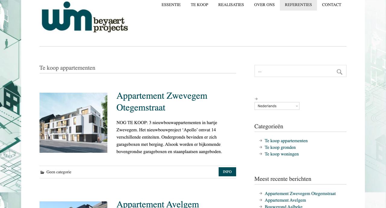 """Beyaert Projects gemaakt door """"ik wil een site"""""""