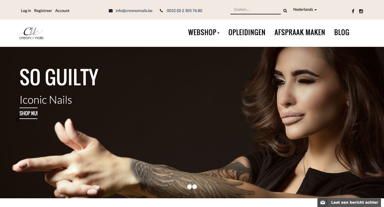 """Creon on nails webshop door """" ik wil een site """""""
